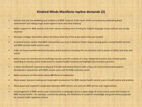 Kindred Minds, BME Service User Led Manifesto – Recovery in