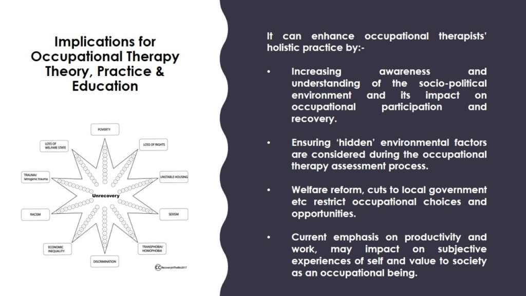 an analysis of the use of occupational therapy in a recovery process A activity analysis is defined as the process used by ot practitioners which addresses the typical demands of an activity, the range of skills involved in its performance, and the various cultural meanings that might be ascribed to it.