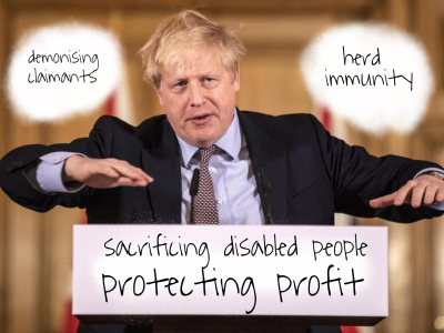 "Photo of Boris Johnson at a podium. The words 'demonising claimants' are written in a white space over his right shoulder and the words ""herd immunity"" over his left shoulder. Below him are the words ""sacrificing disabled people protecting profit"""