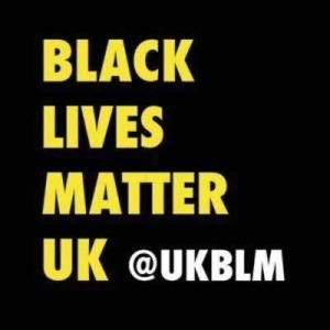 Text on black background saying Black Lives Matter UK @UKBLM